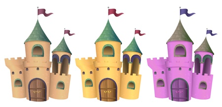 castle cartoon: Illustration of three castles on a white background