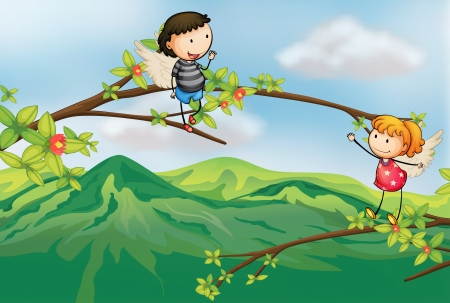 picure: Illustration of a girl and a boy at a branch of a tree