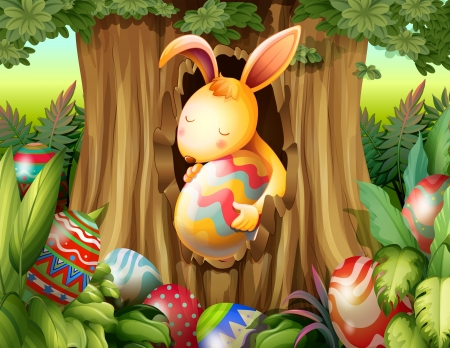rabbit hole: Illustration of a rabbit inside the hole of a tree surrounded with eggs Illustration