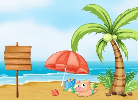 sea grass: Illustration of a pig near the beach
