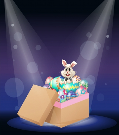 Illustration of a bunny inside a box full of easter eggs Stock Vector - 17897494