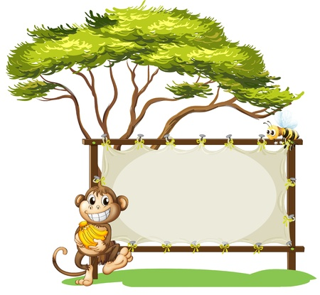 banana leaf: Illustration of a monkey with a banana near the empty signage on a white background