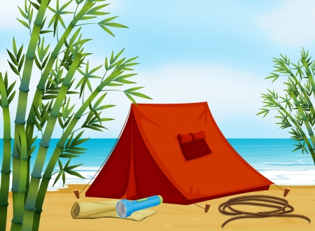camping pitch: Illustration of a camping at the beach
