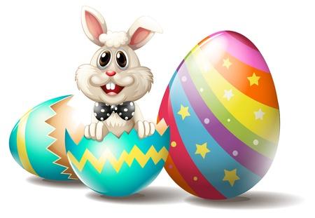 Illustration eines Kaninchens in einem gerissenen Osterei auf einem weißen Hintergrund