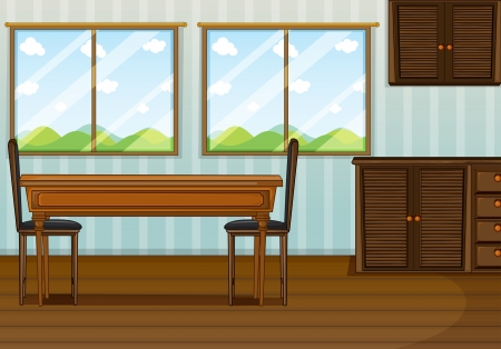 dining room: Illustration of a clean dining room Illustration