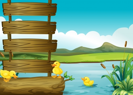 Illustration of ducklings beside an empty signboard in the river Vector