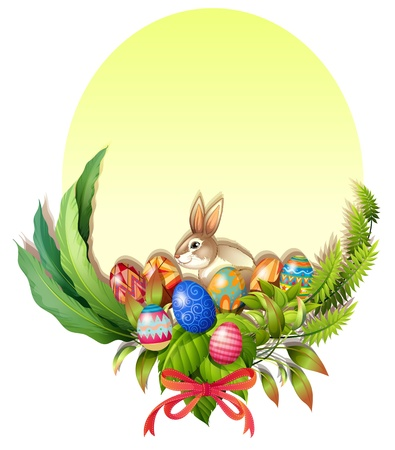 april clipart: Illustration of a colorful easter-designed border on a white background Illustration