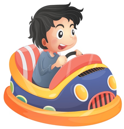 Illustration of a child riding in a bumpcar on a white background