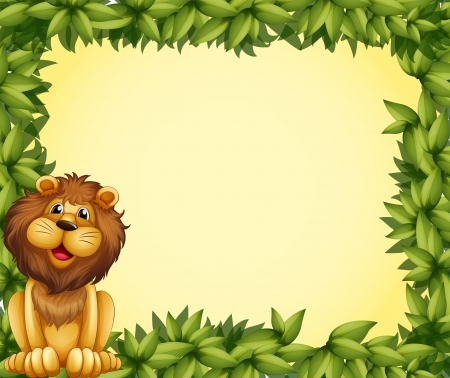 Illustration of a lion and a leafy frame template Vector
