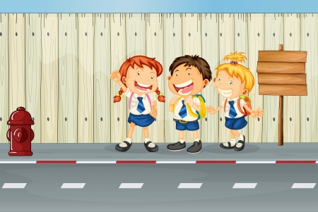 school bag: Illustration of the children laughing along the road