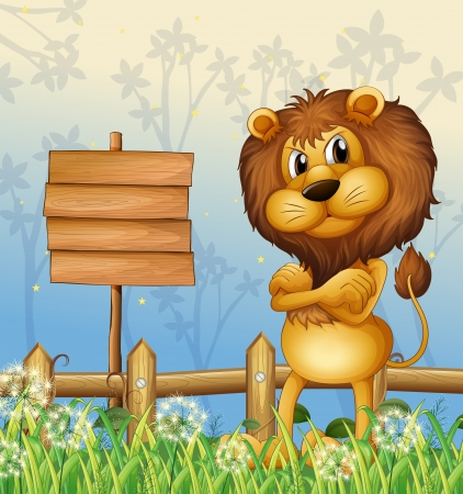 picure: Illustration of a lion in the forest and the empty sigboard