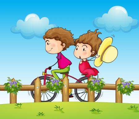 enamorados caricatura: Ilustración de un par andar en bicicleta Vectores