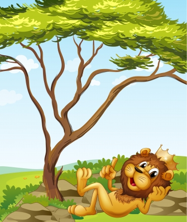 picure: Illustration of a king lion lying down near the tree