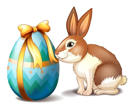 april clipart: Illustration of a rabbit and an Easter egg with a ribbon on a white background Illustration