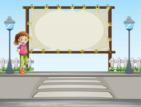 Illustration of a girl beside a blank signage in the street Stock Vector - 17897622