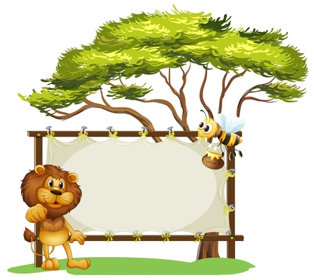 Illustration of a lion and a bee near a big tree on a white background Vector