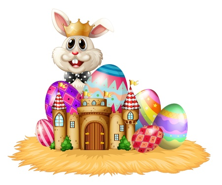 picure: Illustration of a king bunny with easter eggs on a white background Illustration