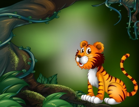 picure: Illustration of a tiger in the dark forest Illustration