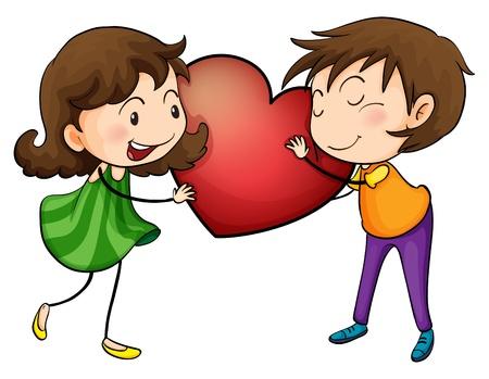 enamorados caricatura: Ilustración de una pareja sosteniendo un corazón en un fondo blanco