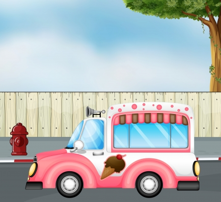 Illustration of a pink ice cream bus at the road Vector