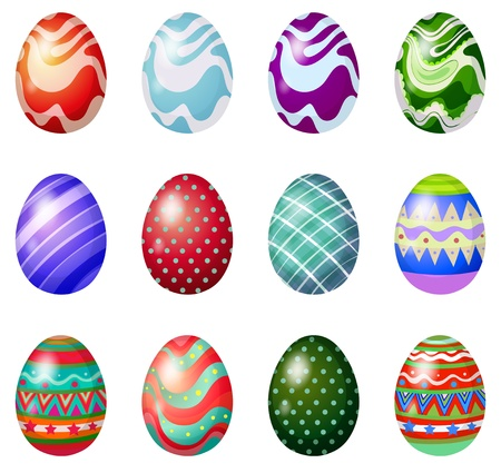 april clipart: Illustration of a dozen of painted easter eggs on a white background Illustration