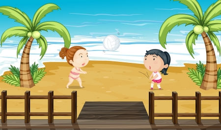 Illustration of two girls playing volleyball Vector