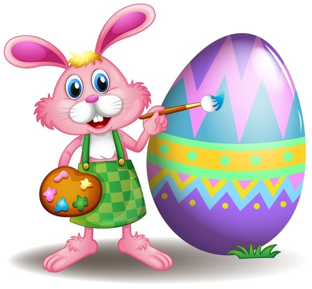 easter decorations: Illustration of a rabbit painting the easter egg on a white background Illustration
