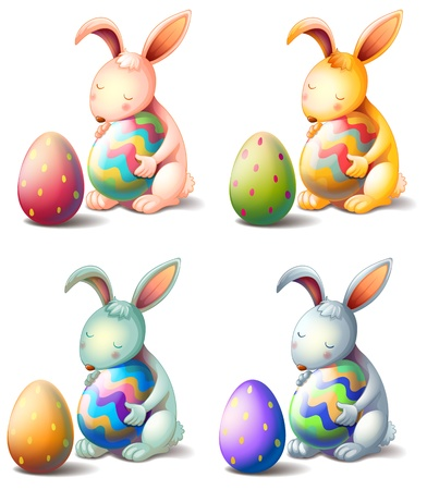 Illustration of four rabbits with easter eggs on a white background Vector