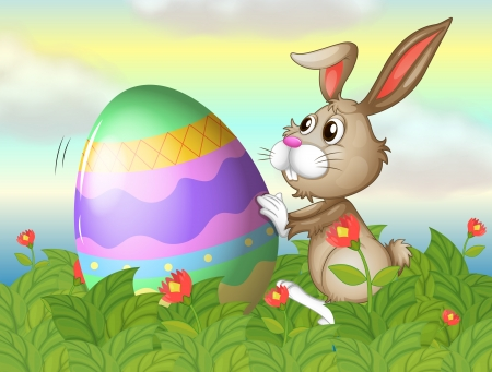 Illustration of a rabbit and a large egg in the garden Vector