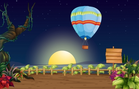 Illustration of a hot air balloon in a bright full moon Vector