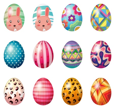 april: Illustration of painted easter eggs on a white background Illustration
