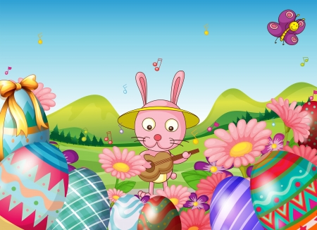 picure: Illustration of a bunny with a guitar and the easter eggs in the garden on a white background Illustration