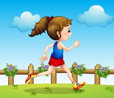 exercise cartoon: Illustration of a runner at the bridge