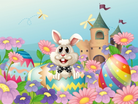 picure: Illustration of an easter bunny in the garden near the castle