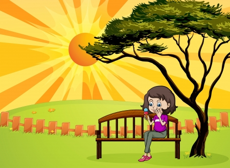 picure: Illustration of a girl in the park sitting in the wooden bench