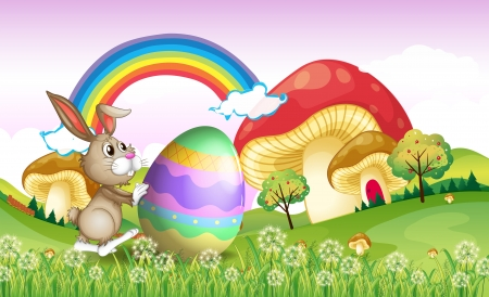 Illustration of a bunny pushing an easter egg Vector