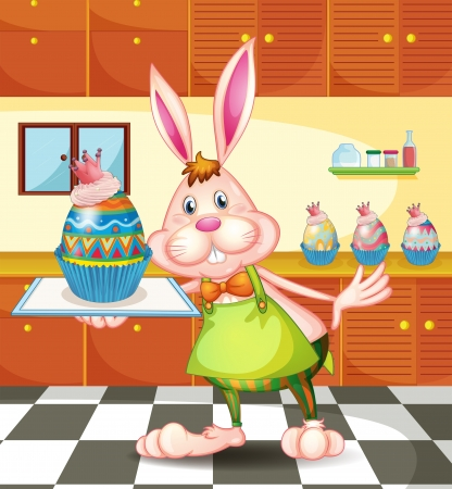 chef clipart: Illustration of a bunny baking an egg-designed cupcakes