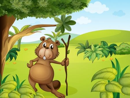 nutria caricatura: Ilustración de un castor en las colinas