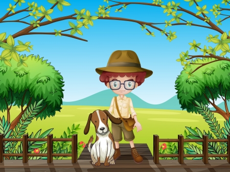 Illustration of a man and a dog Vector