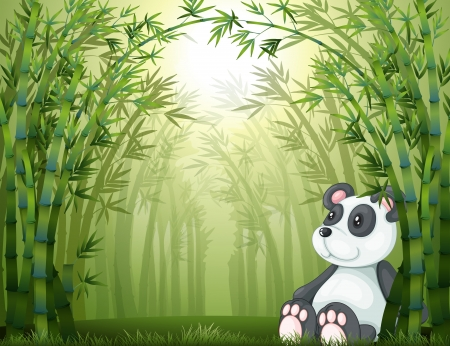 Illustration of a panda in the bamboo forest Vector