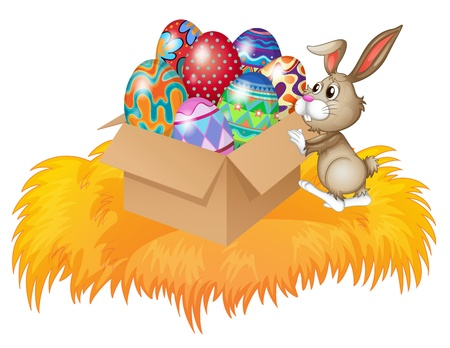 april clipart: Illustration of a bunny pushing a box full of easter eggs on a white background Illustration
