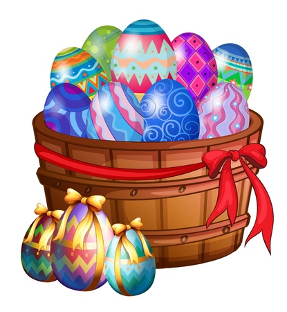 Illustration of a basket full of easter eggs on a white background Vector