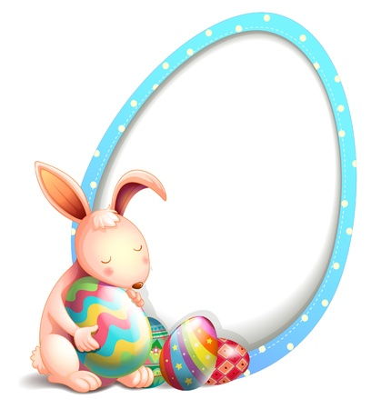 Illustration of a rabbit with easter eggs beside an egg-shaped signage on a white background Vector