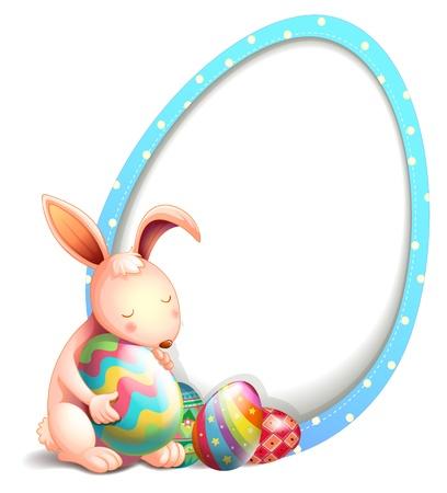 Ilustración de un conejo con huevos de Pascua junto a una señalización en forma de huevo en un fondo blanco