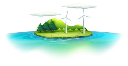 windfarm: Illustrazione di un'isola con mulini a vento su uno sfondo bianco