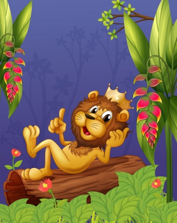 Illustration of a king lion lying in a trunk Vector