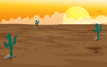 Illustration of a desert with cactus plants Stock Vector - 17896887