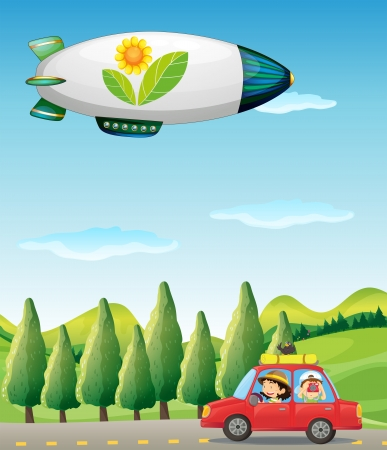 Illustration of a car in the road and a spaceship Vector