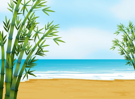 sea grass: Illustration of the view of the beach Illustration