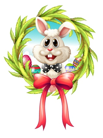 picure: Illustration of a border with a bunny and a big ribbon on a white background
